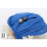 Bracelet manchette soie bleue et perles de tahiti (6)