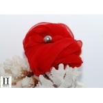 Bracelet manchette soie rouge et perle de tahiti