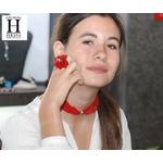Bracelet manchette soie rouge et perle de tahiti (5)