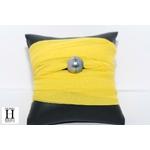 Bracelet manchette soie jaune et perle de tahiti (2)