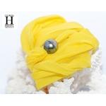 Bracelet manchette soie jaune et perle de tahiti (4)
