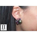 Boucles doreilles Saphirs multicolors, brillants et perles de tahiti vert rosé tropical