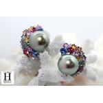 Boucles d'oreilles Saphirs multicolors, brillants et perles de tahiti vert rosé tropical (3)