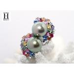 Boucles doreilles Saphirs multicolors, brillants et perles de tahiti vert rosé tropical (4)