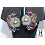 Boucles doreilles Saphirs multicolors, brillants et perles de tahiti vert rosé tropical (5)