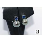 Boucles doreilles saphirs bleu et perles de tahiti bleu vert jungle (5)