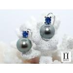 Boucles d'oreilles saphirs bleu et perles de tahiti bleu vert jungle (7)