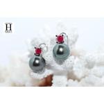 Boucles d'oreilles Solitaires rubis et perles de tahiti (5)