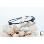 Bracelet Marrakech noir avec perle de tahiti sable doré