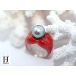 Bague Double-Coeur rouge et perle de tahit