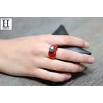 Bague Double-Coeur rouge et perle de tahit (3)