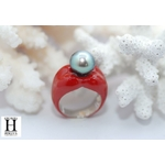 Bague Double-Coeur rouge et perle de tahit (5)