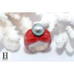 Bague Double-Coeur rouge et perle de tahit (6)