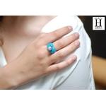 Bague Double-Coeur bleu et perle de tahiti (2)