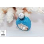 Bague Double-Coeur bleu et perle de tahiti (6)
