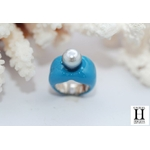 Bague Double-Coeur bleu et perle de tahiti (7)