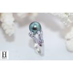 Bague Saphirs violets et bleus et perle de tahiti