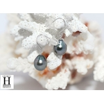 Boucles d'oreilles petits crochets or et perles de tahiti