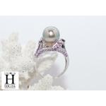 Bague Saphirs violets et perle de tahiti (7)