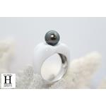 Bague Double-Coeur blanche et perle de tahiti (4)