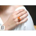 Bague Double-Coeur orange et perle de tahiti  (2)