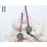 Boucles doreilles Rubis et perles de tahiti (4)