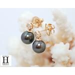 Boucles doreilles diamants or jaune et perles de tahiti (5)