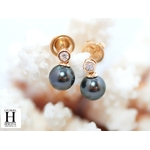 Boucles doreilles diamants or jaune et perles de tahiti (4)