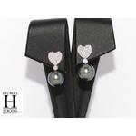 Pendants doreilles Coeurs en brillants et perles de tahiti (4)