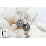 Boucles d'oreilles Flocons de brillants et perles de tahiti (2)