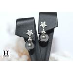 Boucles doreilles Flocons de brillants et perles de tahiti (5)