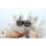 Boucles d'oreilles boutons et perles de tahiti  (3)
