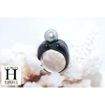 Bague Double-Coeur noir et perle de tahiti (2)