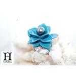 Bague Magniolia bleu et perle de tahiti (3)