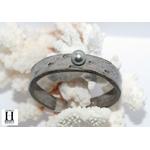 Bracelet Africa autruche grise et perle de tahiti (4)