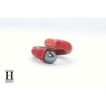 Bague cuir de raie galuchat rouge et perle de tahiti (5)