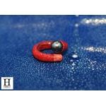 Bague cuir de raie galuchat rouge et perle de tahiti (6)