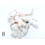 Bracelet Cristaux transparents et perle de tahiti bleu (3)