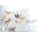 Bracelet Cristaux transparents et perle de tahiti bleu (2)