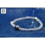 Bracelet Cristaux transparents et perle de tahiti bleu (6)