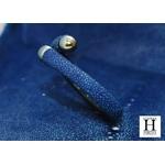 Bracelet Africa galuchat bleu et perles de tahiti (8)