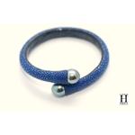 Bracelet Africa galuchat bleu et perles de tahiti (5)