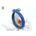 Bracelet Africa galuchat bleu et perles de tahiti (3)