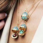 Palais Tsarskoye Selo Turquoise Clover Locket + Ladybird Locket