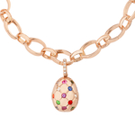 Fabergé Treillage Multi-coloured Rose Gold Polished Charm close up