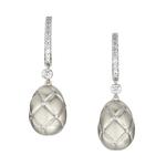 378EA824 Treillage Diamond White Gold Matt Drop Earrings