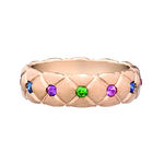 452RG1337 Treillage Matt Rose Gold Thin Multi coloured Ring