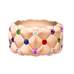 530RG1358 Treillage Multi Coloured Rose Gold Matt Wide Ring