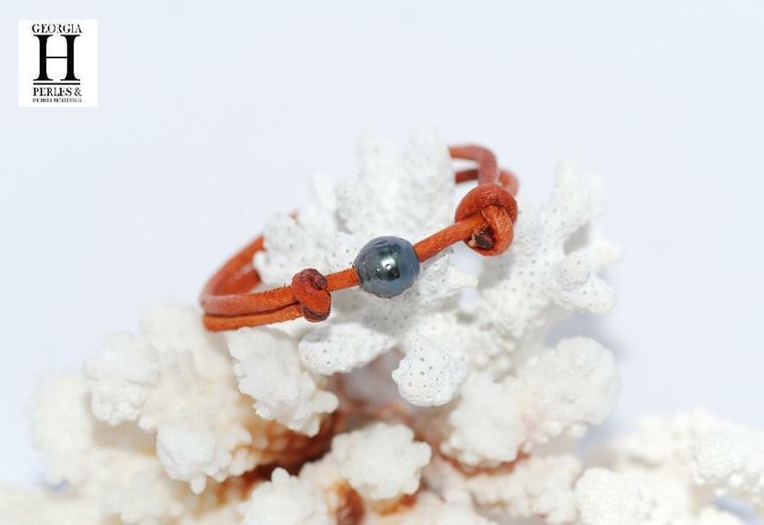 Bracelet Marrakech rouille avec une perle de tahiti (6)