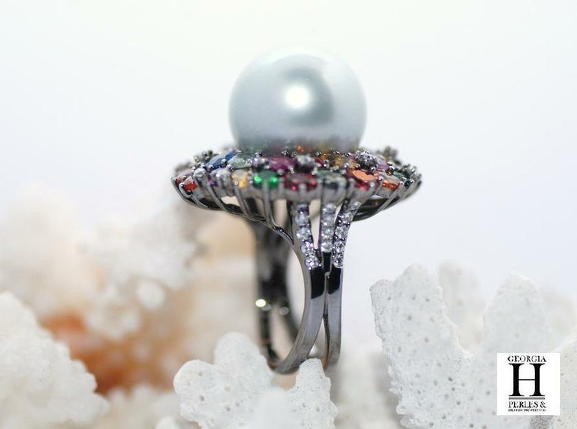 Bague Saphirs , brillants, tsavorites  et perle de tahiti (6)